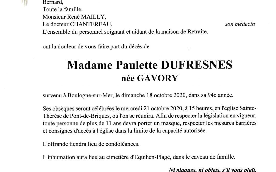 Madame Paulette DUFRESNES